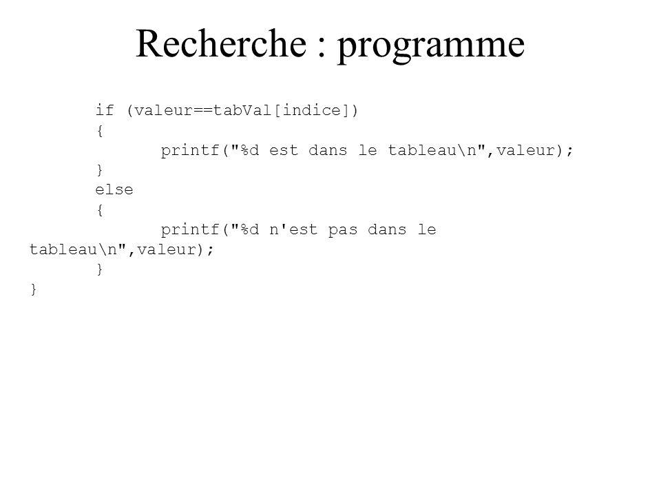 Recherche : programme if (valeur==tabVal[indice]) {